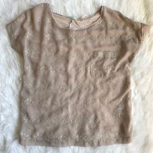 Kimchi Blue (Urban Outfitters) Sheer Nude Tee